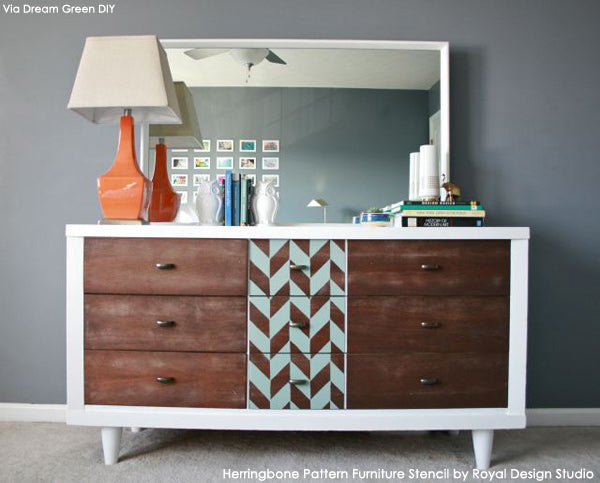 Herringbone Pattern Furniture Stencil on mid-century dresser  by Dream Green DIY | Royal Design Studio