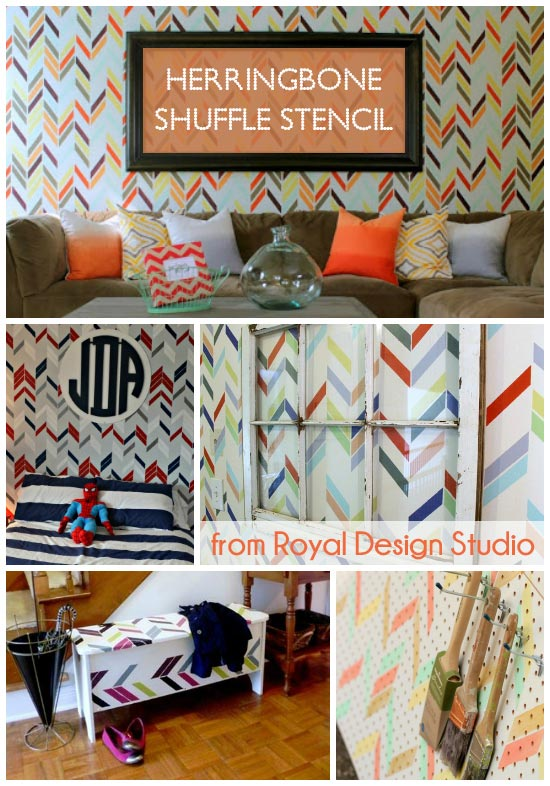 Great wall stencil projects using the Herringbone Shuffle Stencil from Royal Design Studio