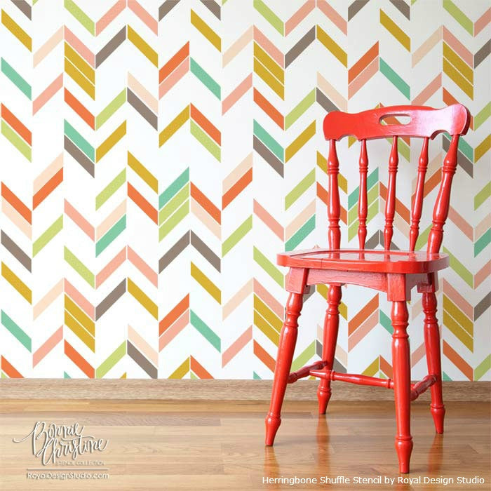Herringbone Shuffle Stencil on Wall | Royal Design Studio Stencils