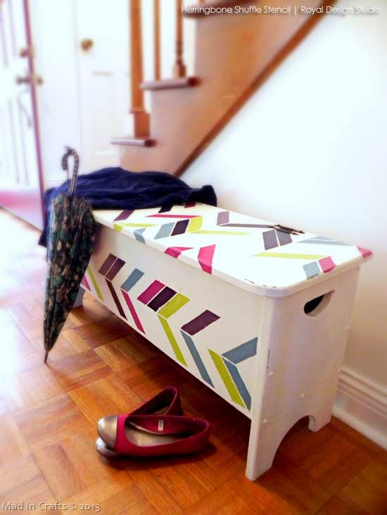 Herringbone stencil pattern on furniture. A colorful stenciled storage bench in and entryway