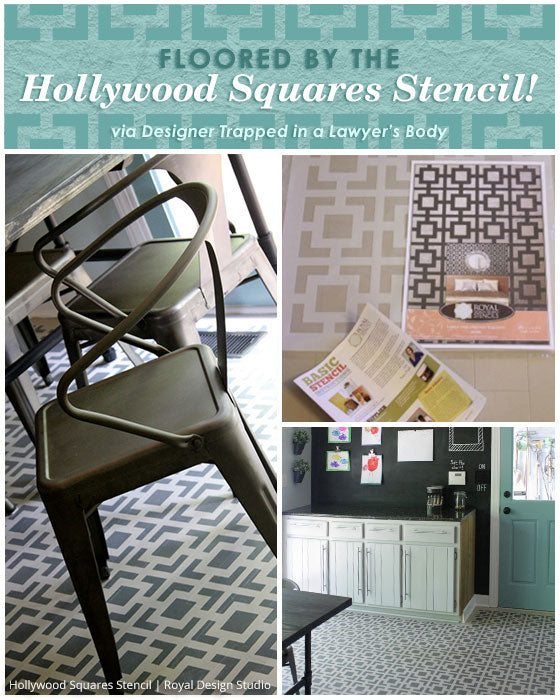 Painted Kitchen Floor Cloth: Floored By The Hollywood Squares Stencil!