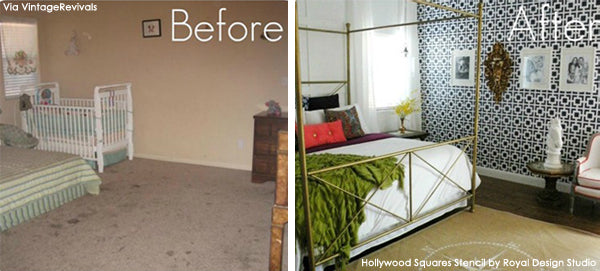 Before and After Stenciled Feature Wall | Hollywood Squares Stencil from Royal Design Studio | Project by Vintage Revivals