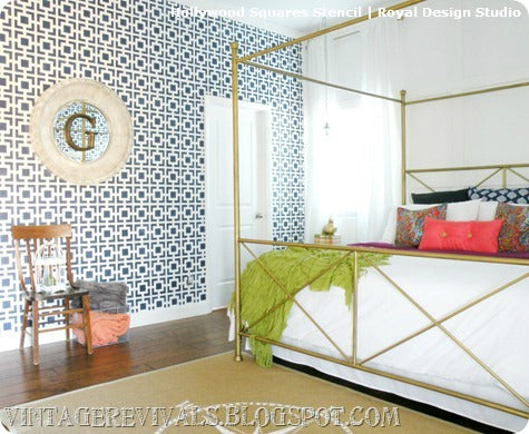 Stenciled Accent Wall by Vintage Revivals | Hollywood Squares Stencil from Royal Design Studio