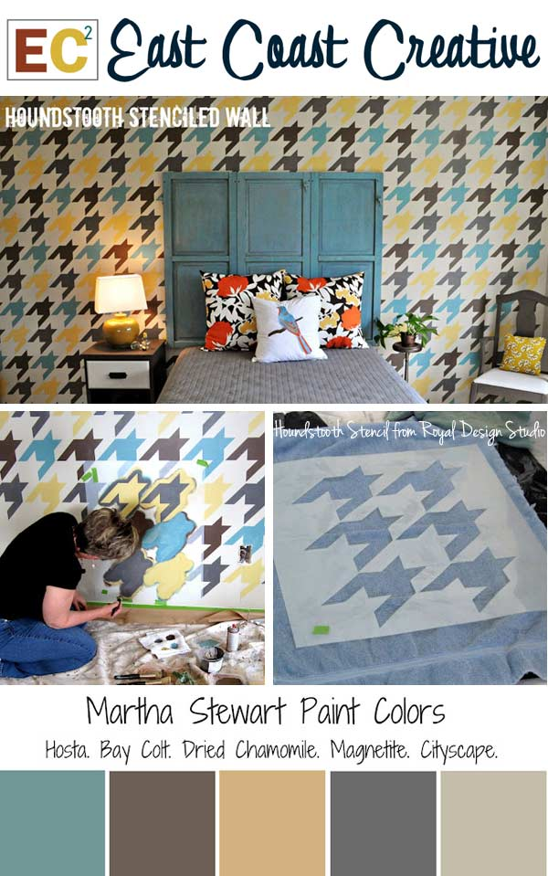 Houndstooth Stencil Feature Wall Project in Bedroom