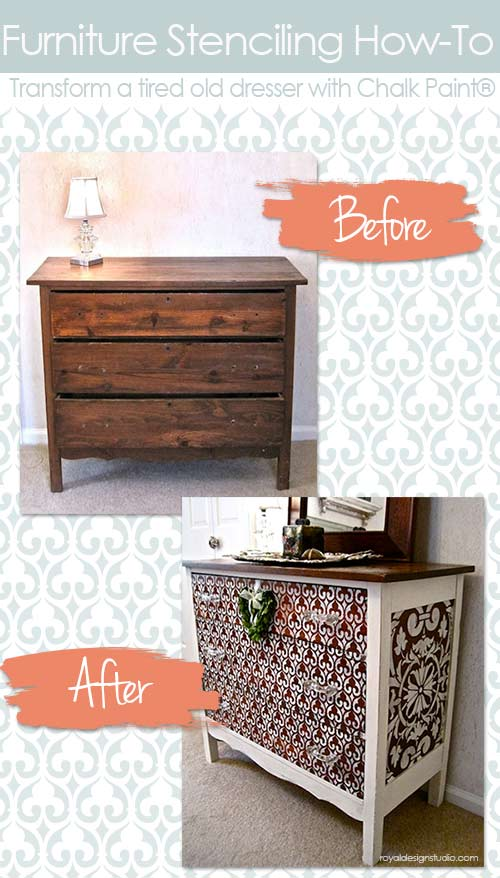 How to stencil furniture with Chalk Paint and Royal Design Studio stencils - How To Paint Pattern on Wood Table