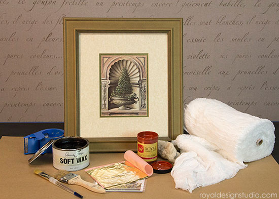 Supplies for How to gild a frame with Royal Stencil Size and Gold Leaf