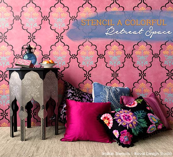 How to stencil an exotic reading nook with wall and furniture stencils - Royal Design Studio