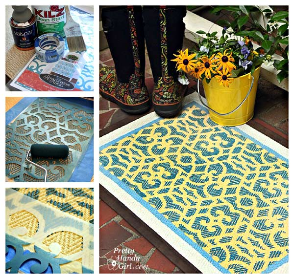 how to stencil a DIY patterned rug