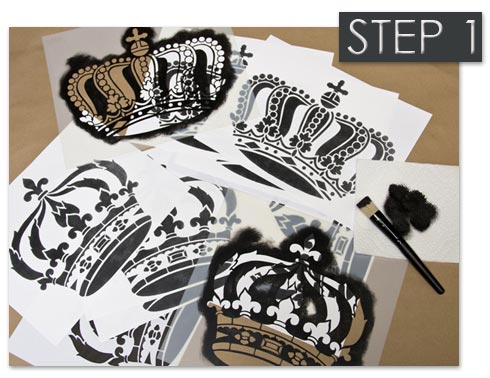 Crown wall art stencils from Royal Design Studio