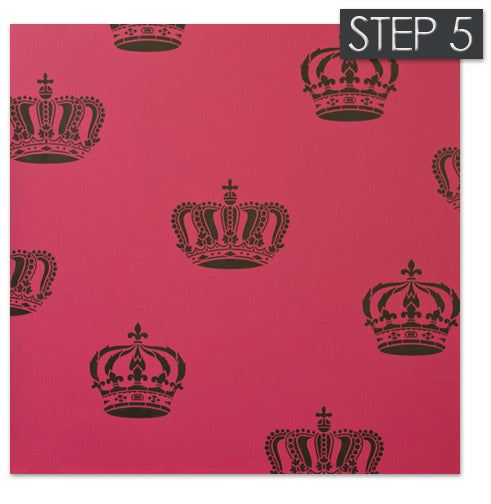 Allover wall stencil pattern with crown stencils from Royal Design Studio
