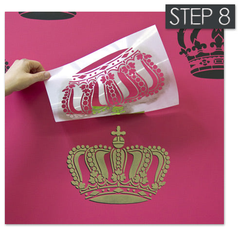 Queen Crown stencil stenciled with Antique Gold stencil creme from Royal Design Studio
