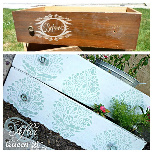 Paint and stencil dresser drawers to make planter boxes