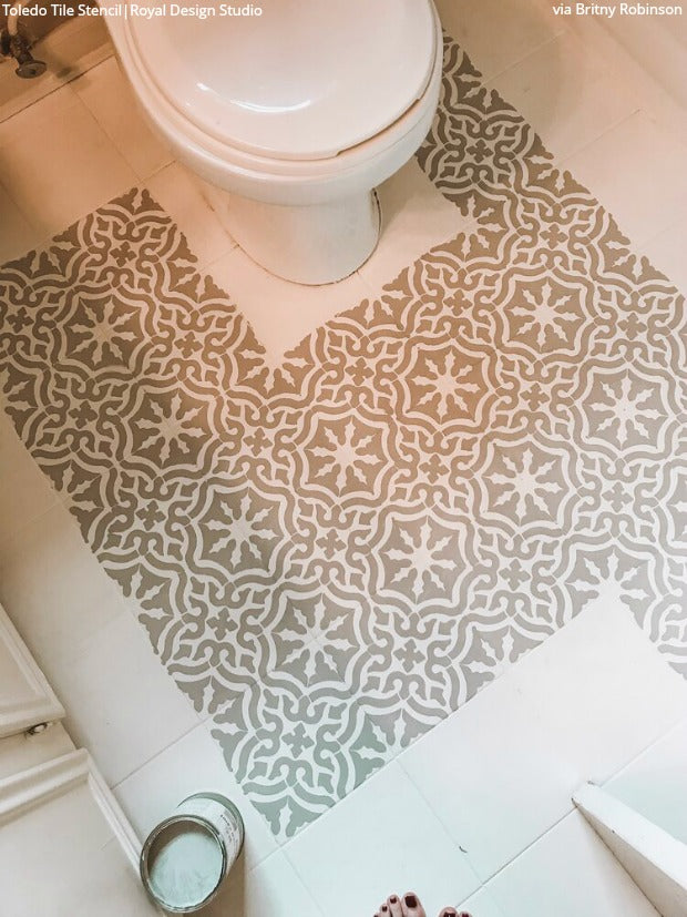 DIY Decor Tutorial: How to Paint Your Bathroom Floors with Tile Stencils from Royal Design Studio Stencils royaldesignstudio.com