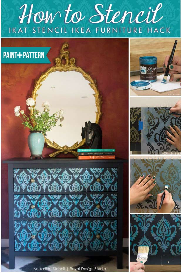 How to Stencil Tutorial: Exotic Ikat Stencils Ikea Furniture Hack - Royal Design Studio