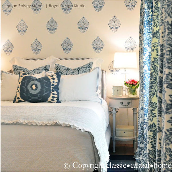 get the blues with these 10 wall stencil projects in beautiful blue hues royal design. beautiful ideas. Home Design Ideas