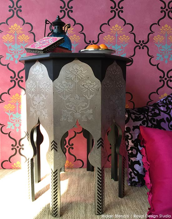 Stencil tutorial - Painted table with silver leaf, Chalk Paint, and furniture stencils from Royal Design Studio