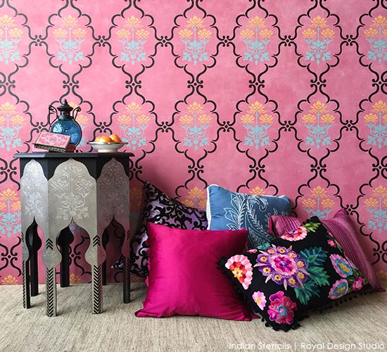Stencil tutorial with Royal Design Studio wall stencils - Paint a bold accent wall with Indian and flower designs