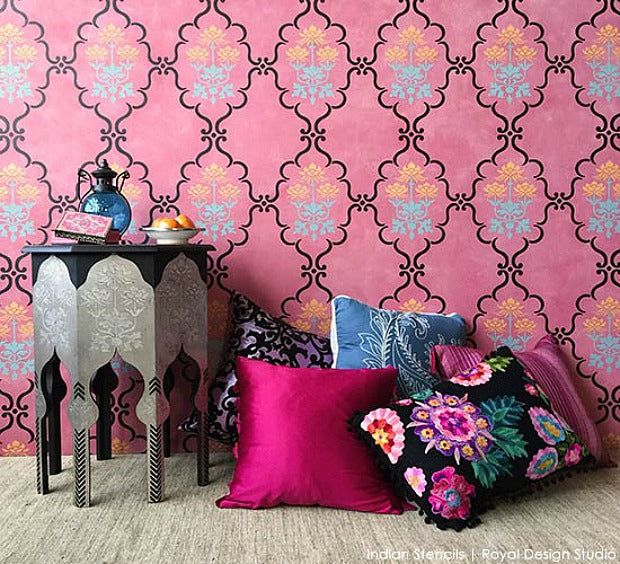 Fresh New Hue for Home Decorating: Stencil Ideas for Pink Interiors from Subtle to Sensational - Royal Design Studio Wall Stencils & Furniture Stencils