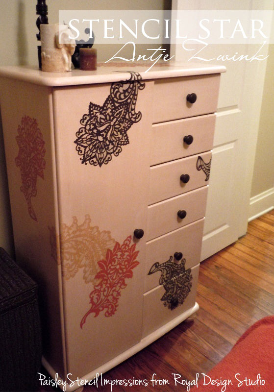 Dresser Stenciled with Two Layer Stencil Impressions Technique | Royal Design Studio Stencils | Artist: Antje Zwink