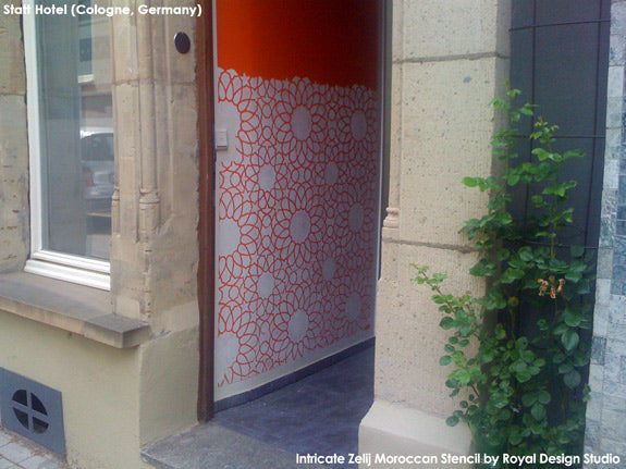 The Intricate Zelij Moroccan Stencil pattern at the entrance of Germany's Statthaus | Royal Design Studio