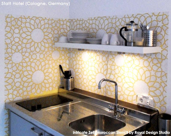 Stenciled Kitchen Backsplash with Intricate Zelij Moroccan Stencil from Royal Design Studio