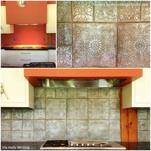 Stencil a stovetop focal point with Italian Tile Stencils | Royal Design Studio
