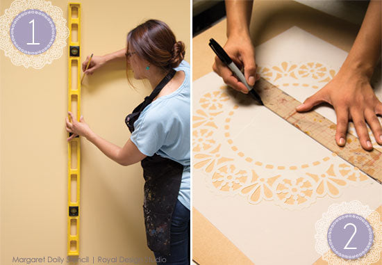 Stenciling the Margaret Doily Lace stencil for a feature wall how-to stencil tutorial | Royal Design Studio