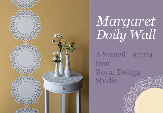 How to stencil tutorial to create a lacy stripe treatment with a Lace Doily Stencil from Royal Design Studio