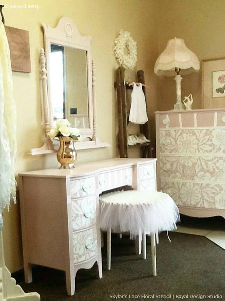 Lovely Lace Stencils for Sweet Stenciled Spaces - 11 DIY Room Makeovers using Lace Designs that You Have to See to Believe! - Royal Design Studio