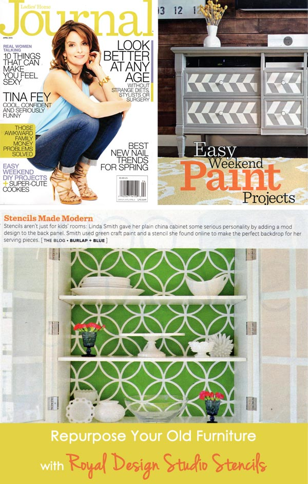 Ladies Home Journal features stenciling as an Easy Weekend Paint Project | Stenciled Cabinet by Burlap + Blue with Royal Design Studio Stencils