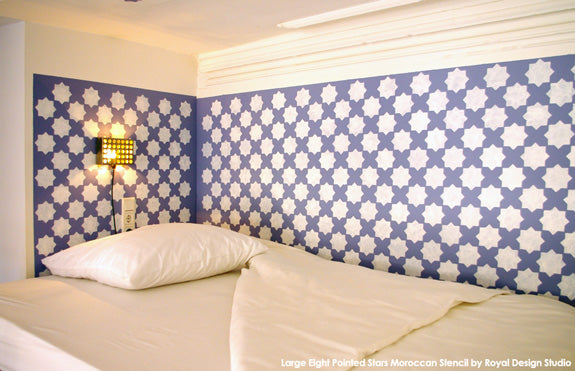 Large Eight Pointed Stars Stencil in Hotel Bedroom | Royal Design Studio