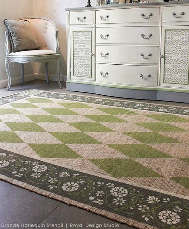 15 DIY Stylish Stenciled Rug Projects that are Easy and Affordable - Painted Floor Stencils by Royal Design Studio