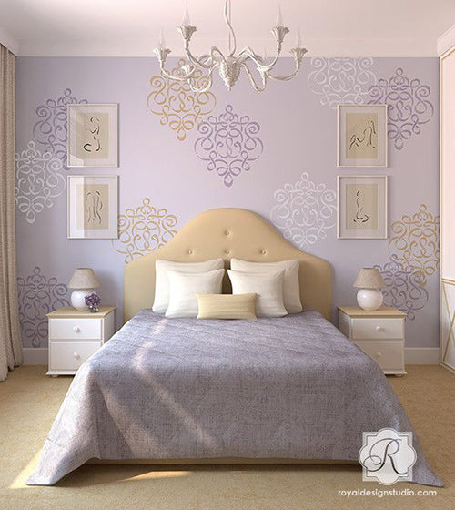 Random Motif Stencil Placement on Feature Wall | Wall Motif Ideas by Royal Design Studio