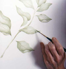 using a liner brush to detail leaves