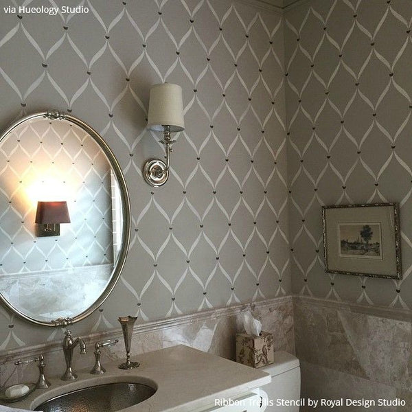 Hueology Studio Decorated With A Pretty Pewter Basecoat And Used Old White  Chalk Paint® For The Bathroom Stencils. She Then Added A Gorgeous Pop Of  Metallic ...