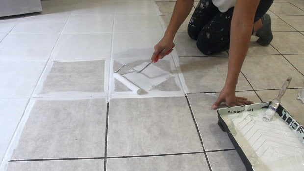 How To Stencil A Tile Floor In 10 Steps Kitchen Bathroom Floor Diy Royal Design Studio Stencils