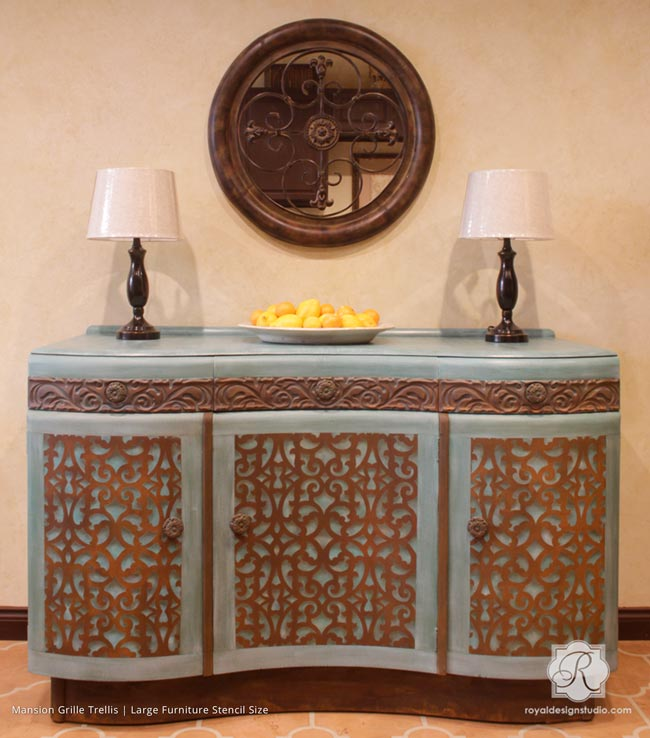 DIY Furniture Makeover 3 Part VIDEO TUTORIAL Series: Rust Finish, Stencil Grille and Distressed Chalk Paint
