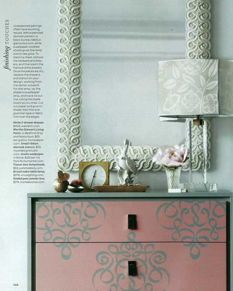 Ribbon Damask stencil on furniture