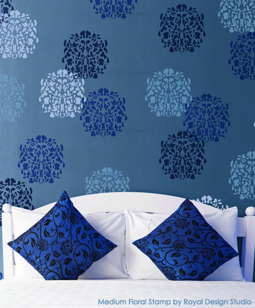 Medium Floral Stamp Stencil on Feature Wall | Bari J Stencil Collection by Royal Design Studio