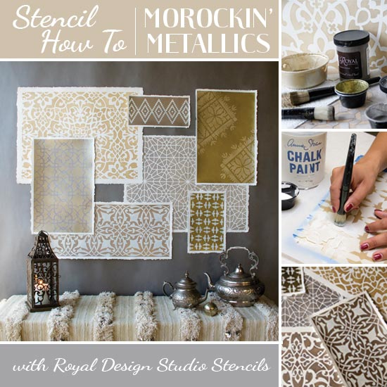 How to use Moroccan stencils and metallic stencil cremes to create an elegant art wall installation