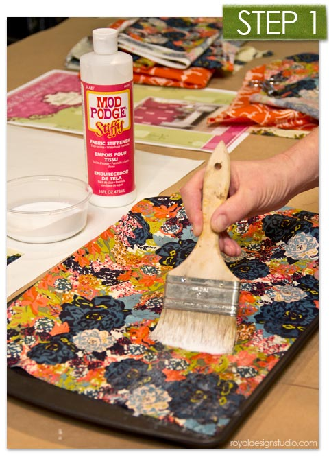 Using Mod Podge Stiffy Fabric Stiffener for a mixed media wall stencil project via Royal Design Studio stencils