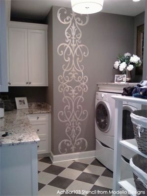 Modello Designs Masking Stencil on Laundry Room Wall | Artist: My Sister & I