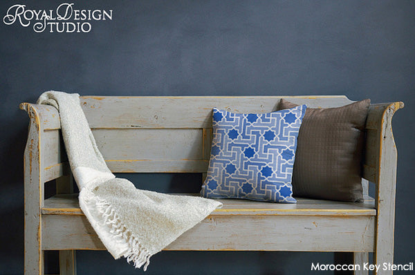 Stenciled Fabric Pillow with Moroccan Key Stencil from Royal Design Studio