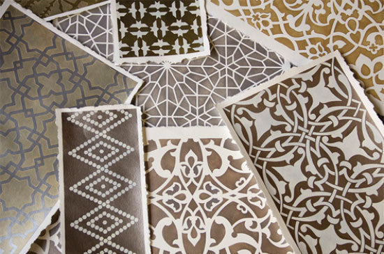 Moroccan Stencils from Royal Design Studio look amazing in soft metallic colors