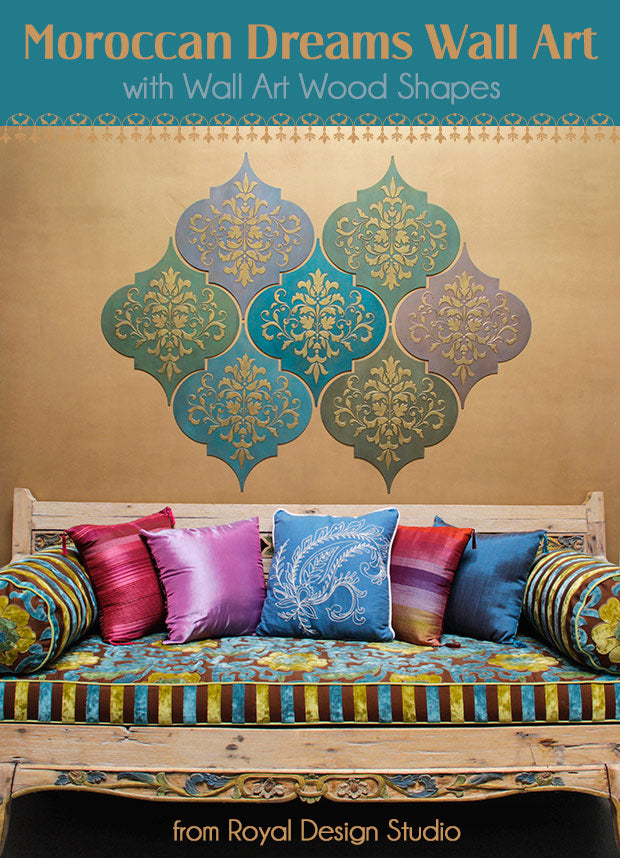 Create custom wall art with Wall Art Wood Shapes and stencils from Royal Design Studio