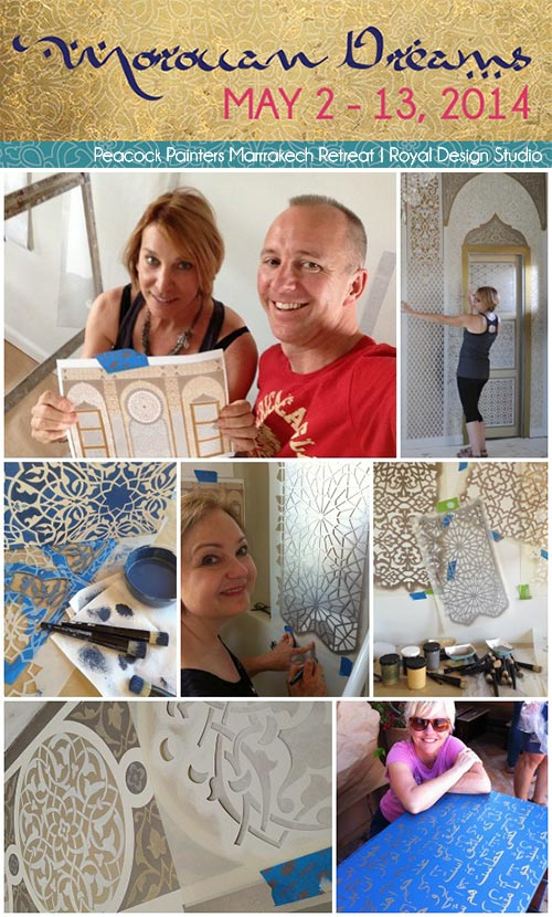 Moroccan stencils from Royal Design Studio used for a Peacock Painter's paint and stencil retreat to Marrakech, Morocco