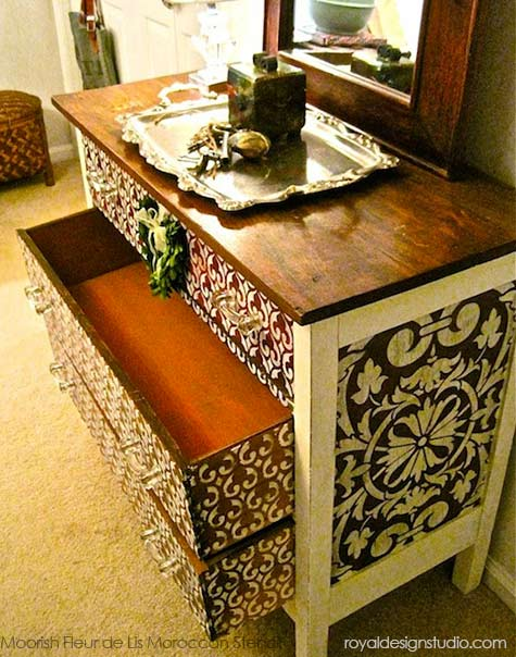 Furniture stencil project with Moroccan stencils and Chalk Paint®  decorative paint from Annie Sloan -