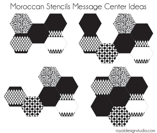 Stencil How-to DIY Tutorial: Hexagon Wall Art Wood Shapes for Painting and Stenciling for Custom Mix and Match Wall Decor - Royal Design Studio