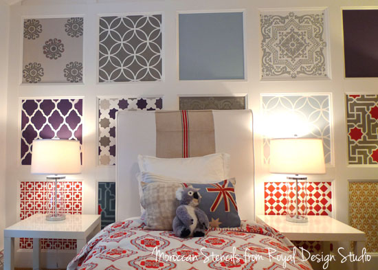feature wall with Moroccan stencils
