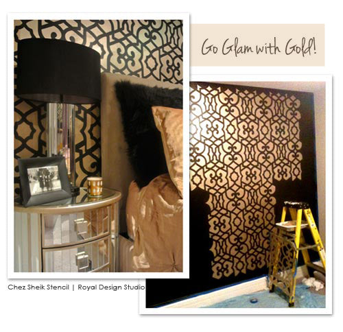 Moroccan wall stencil for wallpaper look